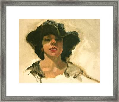 Girl In A Floppy Hat Framed Print by Merle Keller