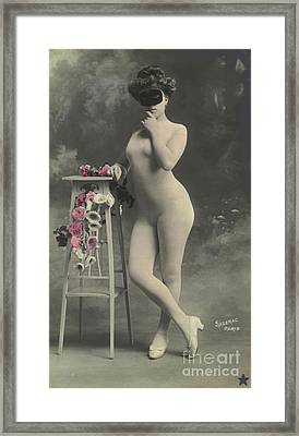 Girl In A Mask Framed Print by French School