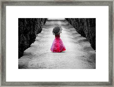 Girl In A Red Dress Framed Print