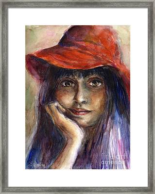 Girl In A Red Hat Portrait Framed Print