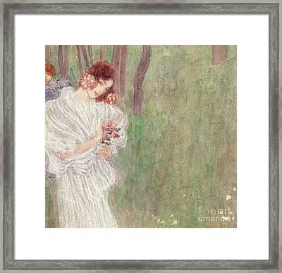 Girl In A White Dress Standing In A Forest  Framed Print by Gustav Klimt