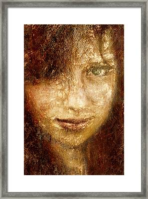 Girl In A Window Framed Print by Jeff  Gettis