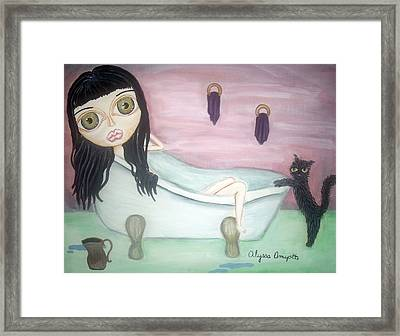 Girl In Bath Framed Print