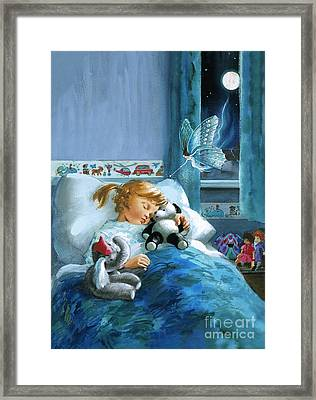 Girl In Bed Attended By Fairy Framed Print by English School