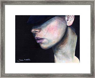 Girl In Black Hat Framed Print