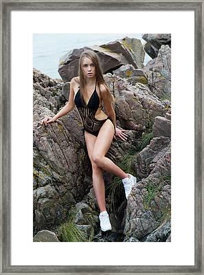 Girl In Black Swimsuit Framed Print