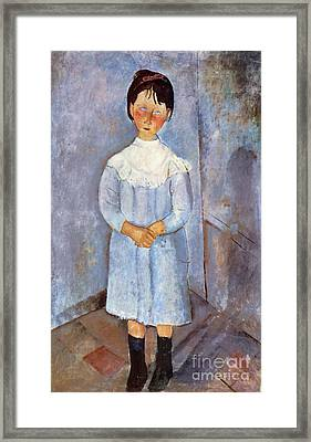 Girl In Blue, 1918 Framed Print by Amedeo Modigliani