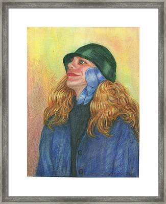 Framed Print featuring the painting Girl In Blue Ribbon by Jeanne Kay Juhos