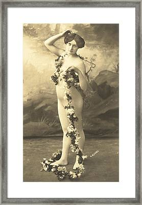 Girl In Body Stocking Holding Garland Of Flowers Framed Print by French School