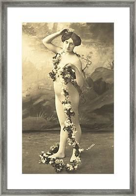 Girl In Body Stocking Holding Garland Of Flowers Framed Print