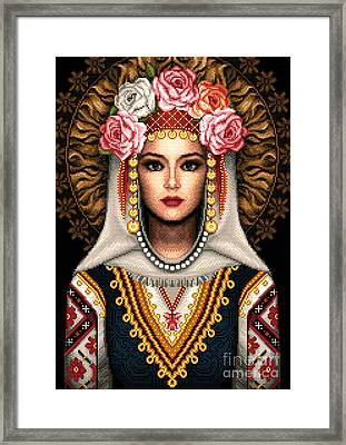 Girl In Bulgarian National Costume Framed Print by Stoyanka Ivanova
