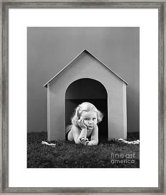 Girl In Dog House, C.1940s Framed Print