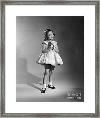 Girl In Fancy Dress, C.1950s Framed Print by Debrocke/ClassicStock