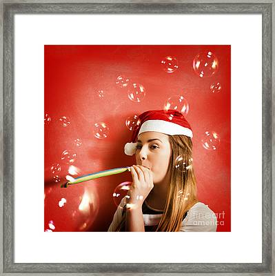Girl In Fun Red Christmas Celebration Framed Print by Jorgo Photography - Wall Art Gallery