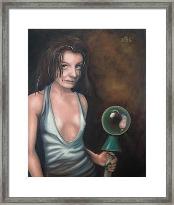 Girl In The Glass Framed Print