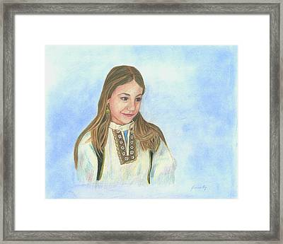 Framed Print featuring the painting Girl In Greek Costume by Jeanne Kay Juhos