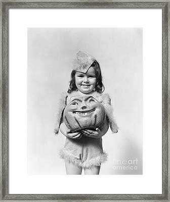 Girl In Halloween Costume, C.1930-40s Framed Print by H. Armstrong Roberts/ClassicStock