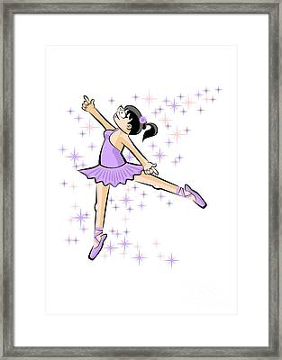 Girl In Lilac Dress Dancing Ballet Under A Rain Of Stars Framed Print