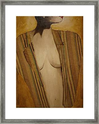 Girl In Man's Shirt Framed Print