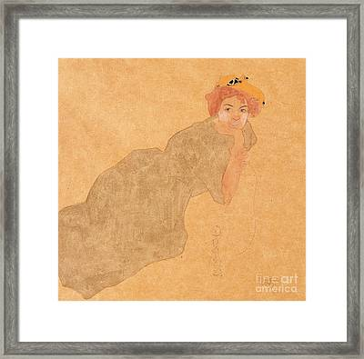Girl In Olive Coloured Dress With Propped Arm Framed Print