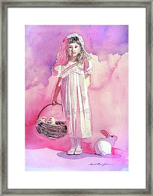 Girl In Pink Framed Print by David Lloyd Glover