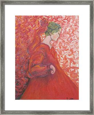Girl In Red Framed Print by Lore Rossi
