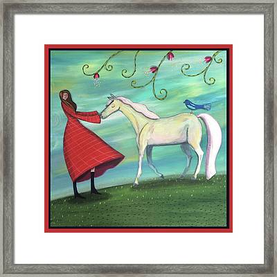 Framed Print featuring the painting Girl In Red With White Pony by Marti McGinnis