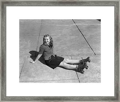 Girl In Roller Skates After Fall Framed Print by H. Armstrong Roberts/ClassicStock