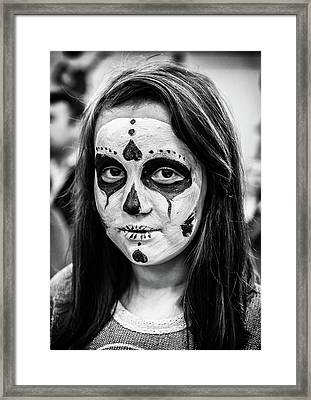 Framed Print featuring the photograph Girl In Skull Facepaint by John Williams