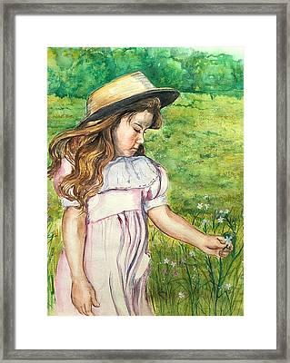 Girl In Straw Hat Framed Print