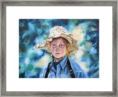 Girl In Straw Hat Framed Print by Richard Barone