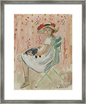 Girl In The Chair Framed Print by Celestial Images