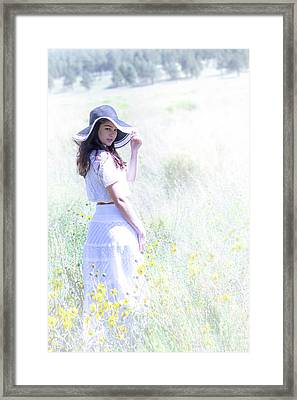 Girl In The Dreamy Meadow Framed Print by Amy Sorvillo