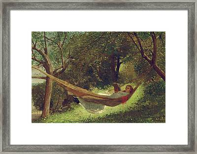 Girl In The Hammock By Winslow Homer 1873 Framed Print by Movie Poster Prints