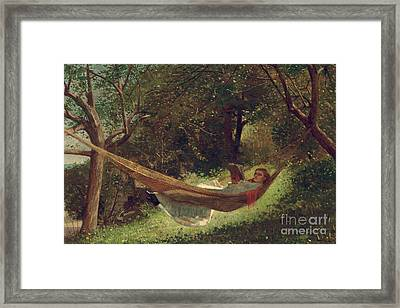 Girl In The Hammock Framed Print by Winslow Homer