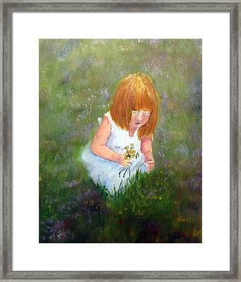 Girl In The Meadow Framed Print by Loretta Luglio