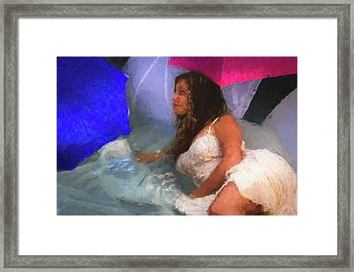 Girl In The Pool 1 Framed Print by Mike Penney