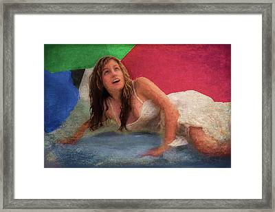 Girl In The Pool 3 Framed Print by Mike Penney