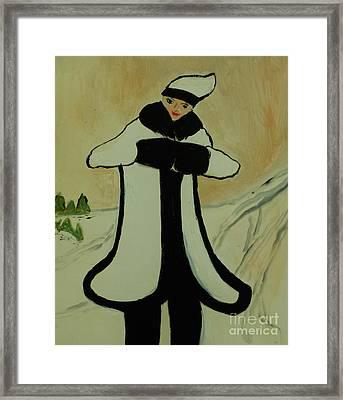 Girl In The Snow Framed Print by Marie Bulger