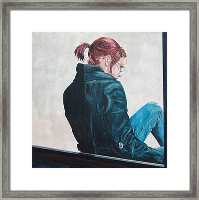 Framed Print featuring the painting Girl In The Window-sfai by Kevin Callahan