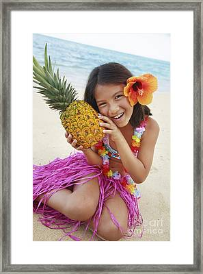 Girl In Tropical Paradise Framed Print