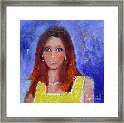 Girl In Yellow Dress Framed Print by Claire Bull