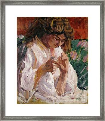 Girl Mending Framed Print by Roderic OConor