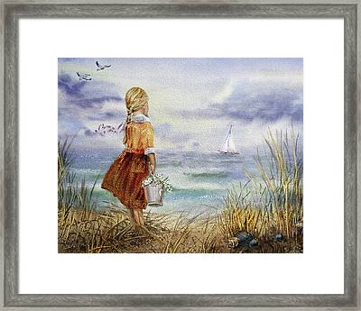 Framed Print featuring the painting Girl Ocean Shore Birds And Seashell by Irina Sztukowski