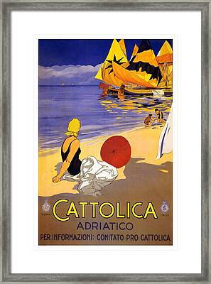 Girl On A Beach In Cattolica Rimini Italy - Vintage Travel Poster Framed Print
