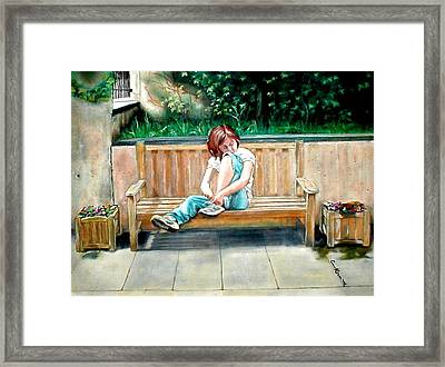 Girl On A Bench Framed Print by G Cuffia