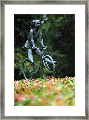 Girl On A Bicycle Framed Print by Jessica Rose