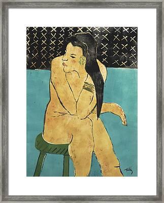 Girl On A Green Stool Framed Print