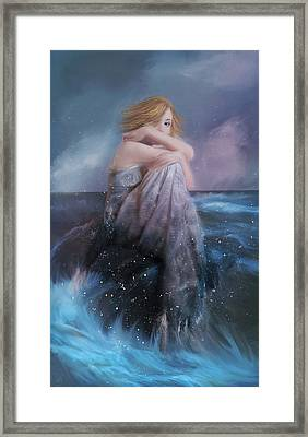 Girl On A Rock Framed Print by Hazel Billingsley