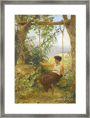 Girl On A Swing Framed Print by MotionAge Designs